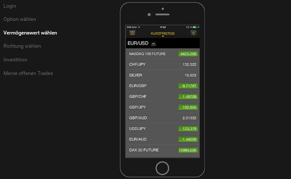 24option App Vermögenswert auswählen