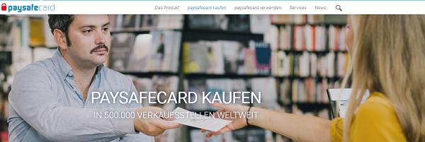 Die Homepage von paysafecard