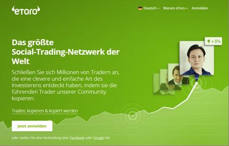 Die Homepage von eToro