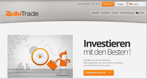 Die Homepage von ZuluTrade