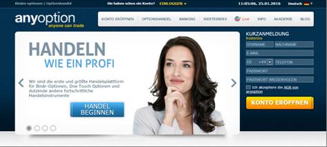 Die Homepage von Anyoption