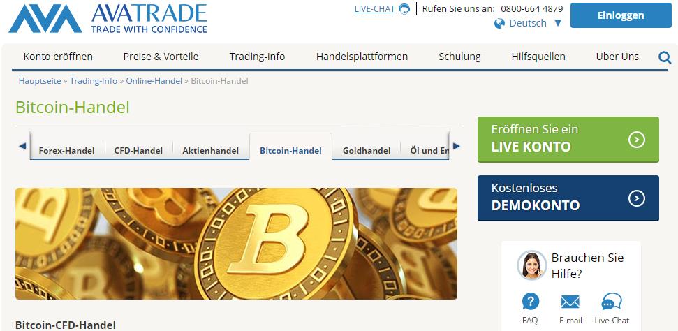 Bei AvaTrade kann man CFDs auf Bitcoin, Ethereum, Ripple, Litecoin und Dash handeln.