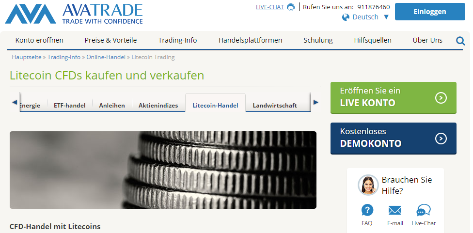 Litecoins CFDs kaufen und verkaufen bei AvaTrade