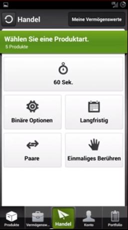 BDSwiss App Produktart