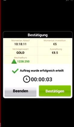 BDSwiss App Trade bestätigen