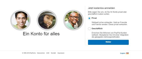 PayPal Account registrieren