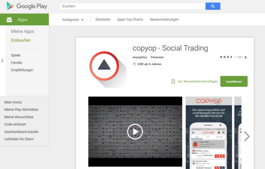 Die Copyop App im Google Play Store
