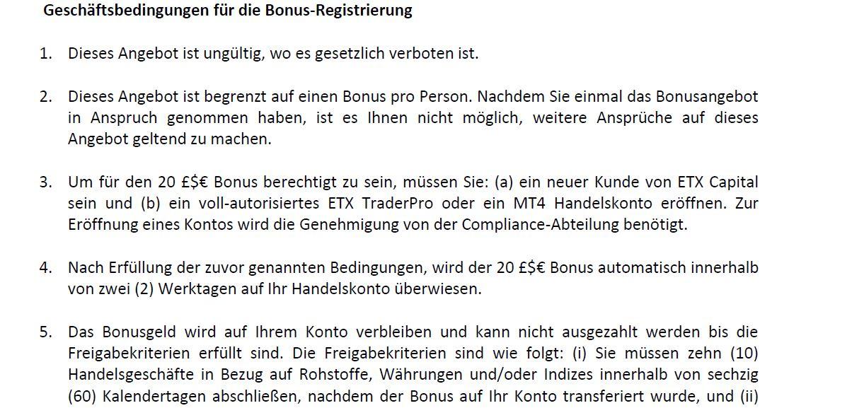 Überblick der Bonus Bedingungen für den 20 Euro Bonus