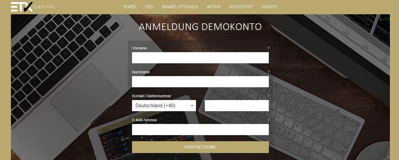 Anmeldung Demokonto