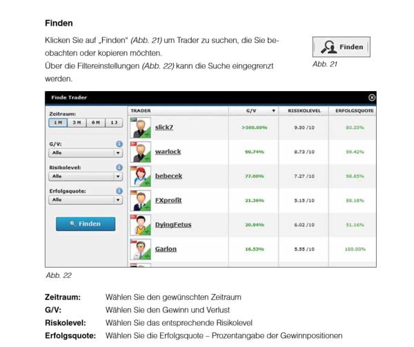 Social-Trading-Filter bei GKFX