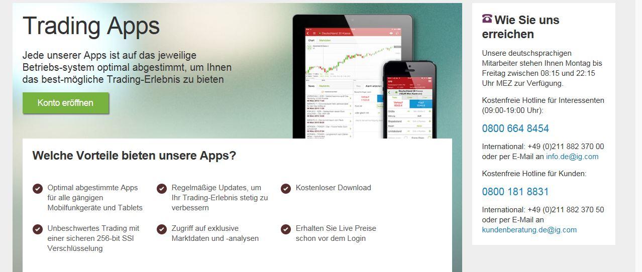 Die Trading App auf einen Blick
