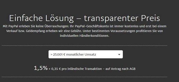 PayPal Gebühren für Geschäftskunden