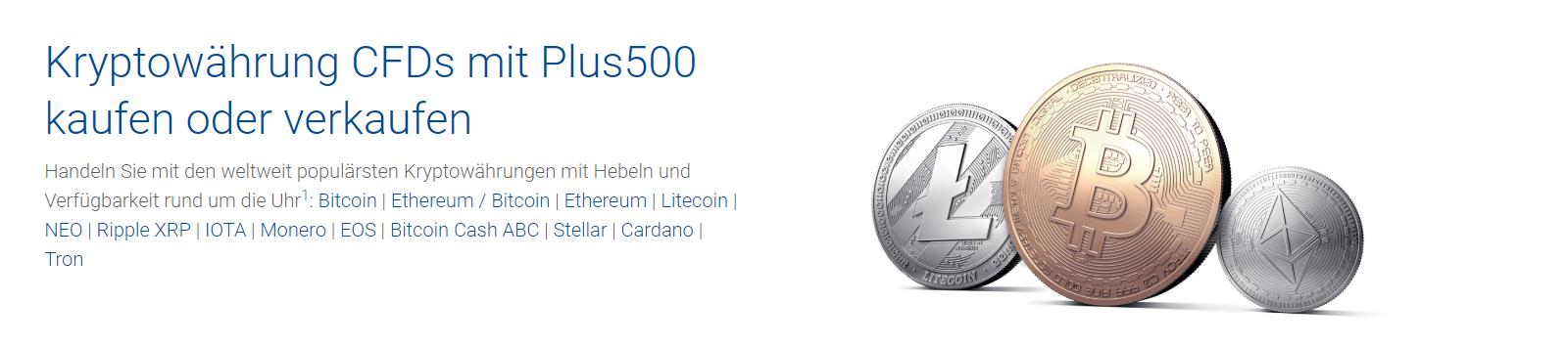Plus500 bietet acht Kryptowährungen zum Handel an