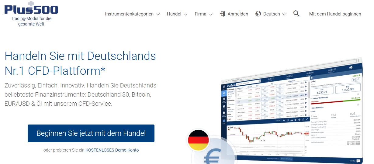 Plus500 - die Homepage unseres Testsiegers für den Handel von klassischen Optionen
