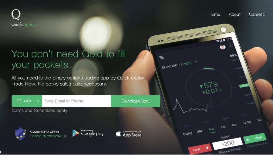 Die Quick Option Plattform gibt es nur mobil