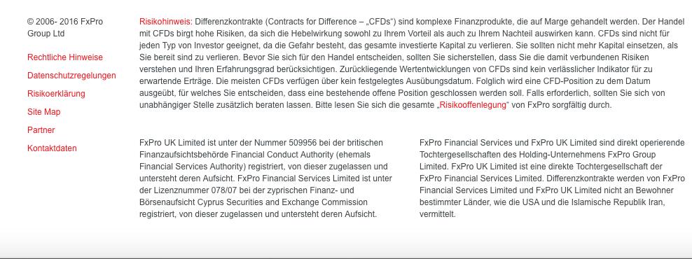 Regulierung FxPro