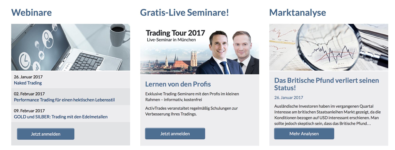 ActivTrades bietet z. B. kostenlose Live-Seminare für den Einstieg ins Trading.