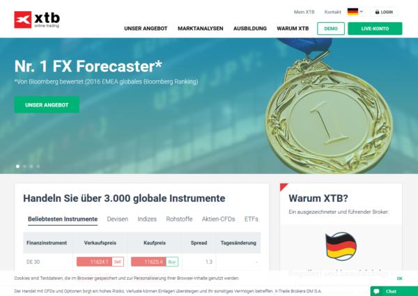 So sieht die Webseite von XTB aus