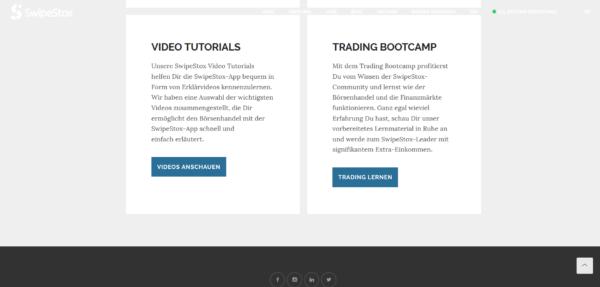 Video Tutorials und das Trading Bootcamp von SwipeStox