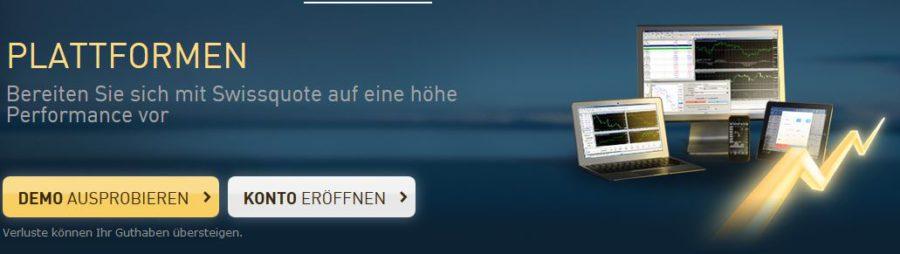 Swissquote Handelsplattformen: Zur Verfügung stehen Metatrader 4 und 5
