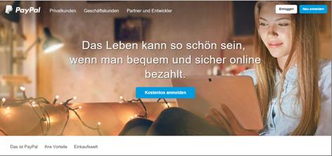 Die Homepage von PayPal