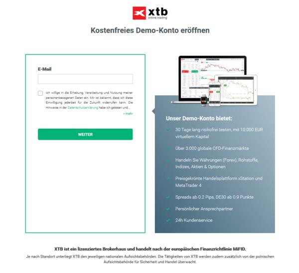 Das XTB Demokonto eignet sich für den FX-Handel Start