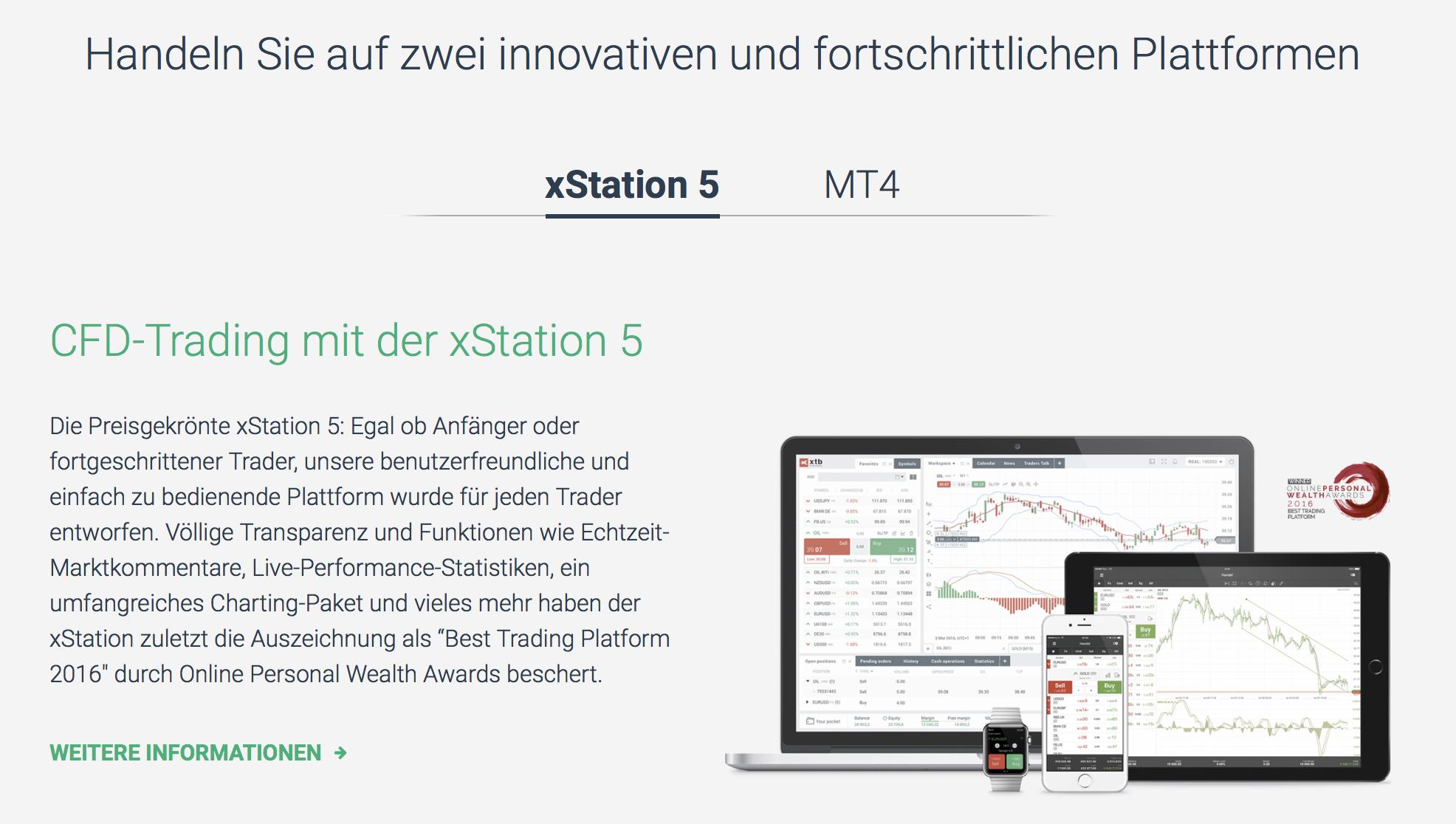 Mit xStation5 und dem MetaTrader4 stehen leistungsstarke Plattformen bereit