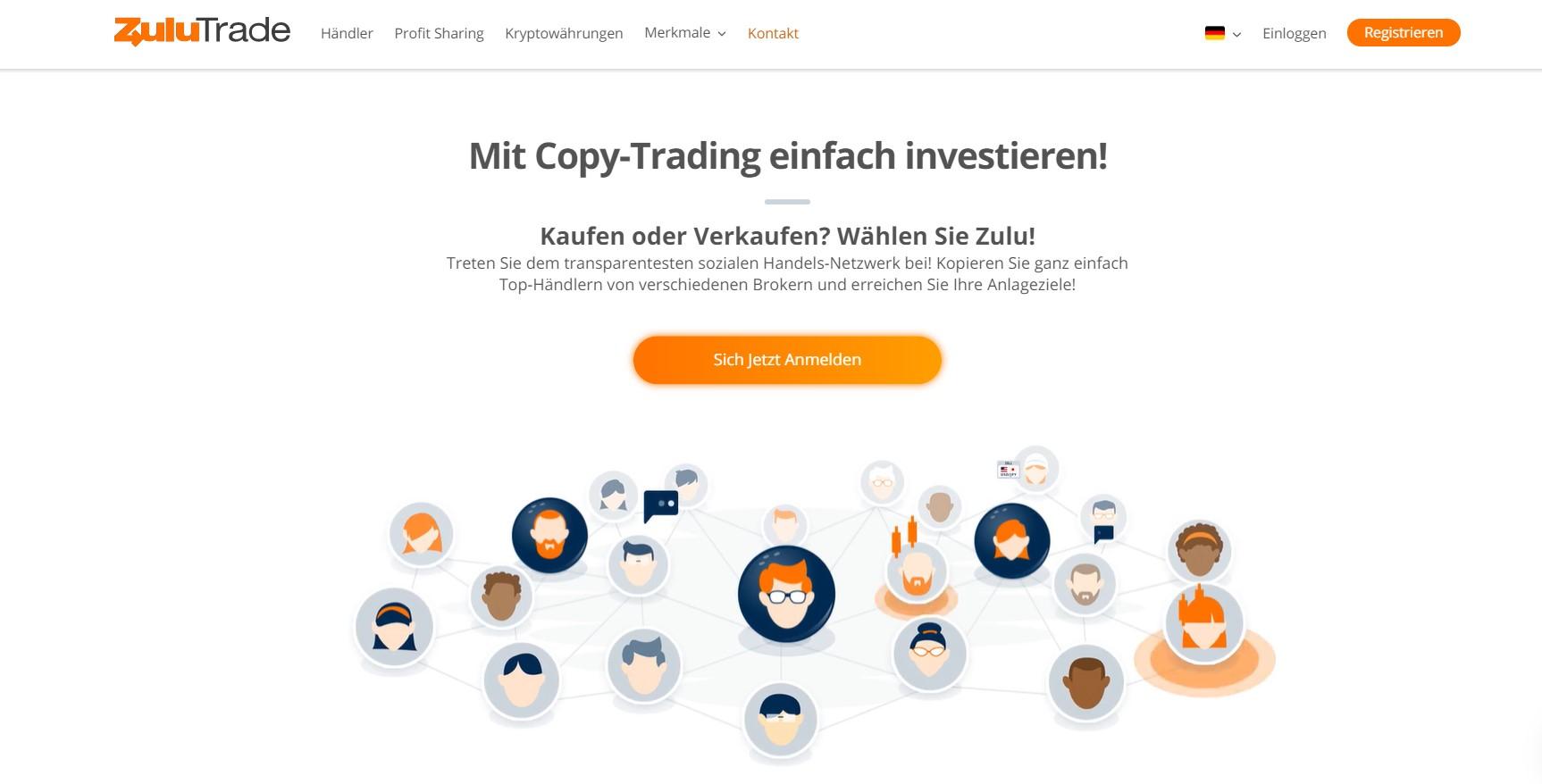 Ein Blick auf die Website von Zulutrade