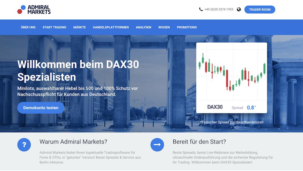 Admiral Markets Webseite