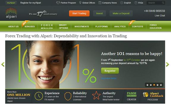 Alpari Webseite