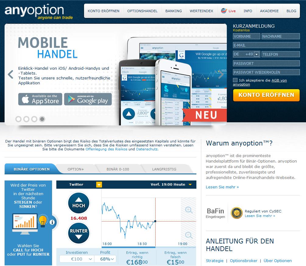 Der Webauftritt des Binäroptionen Brokers anyoption