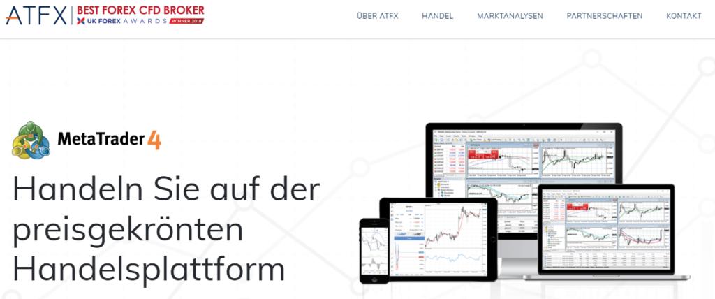 Bei ATFX können Sie mit der preisgekrönten Handelsplattform MT4 traden