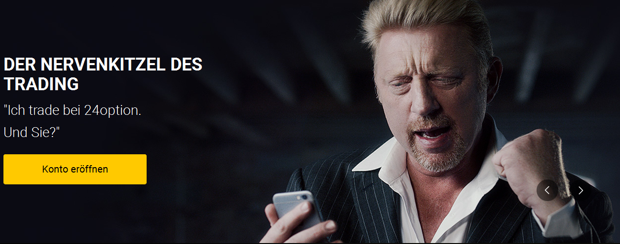 Boris Becker als Werbegesicht des Brokers 24option