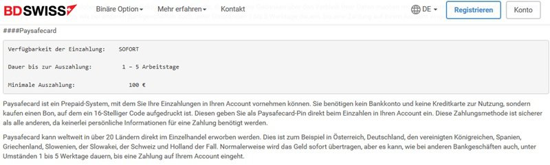 Screenshot Zahlungsoptionen BD Swiss