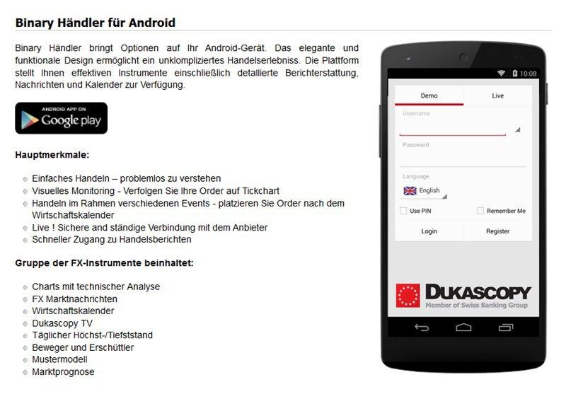Screenshot mobile Apps Dukascopy