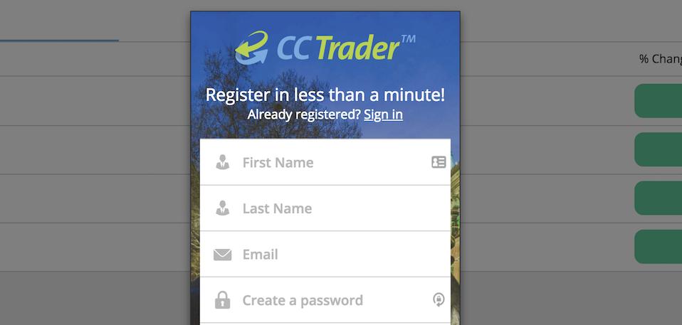 Die Registrierung bei ccTrader ist in weniger als einer Minute möglich