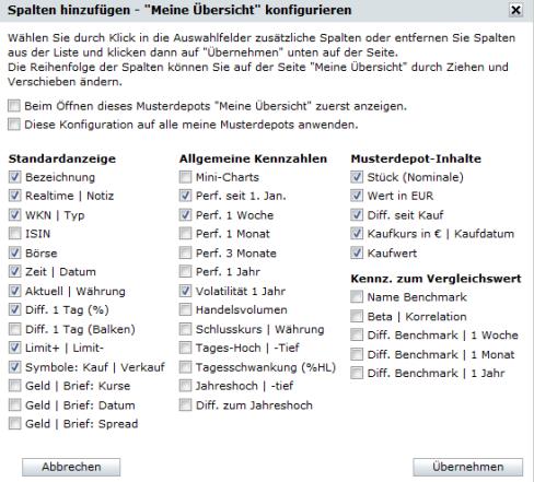 comdirect-Musterdepot-Konfiguration