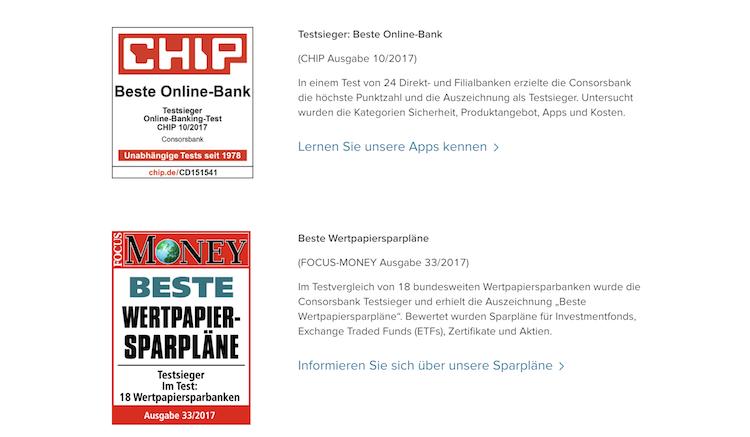 Consorsbank Auszeichnungen