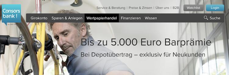 Consorsbank Depotübertrag Bonus