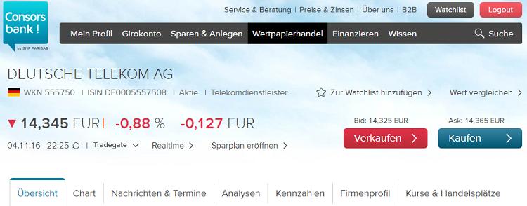 Consorsbank-Musterdepot-Wertpapieransicht