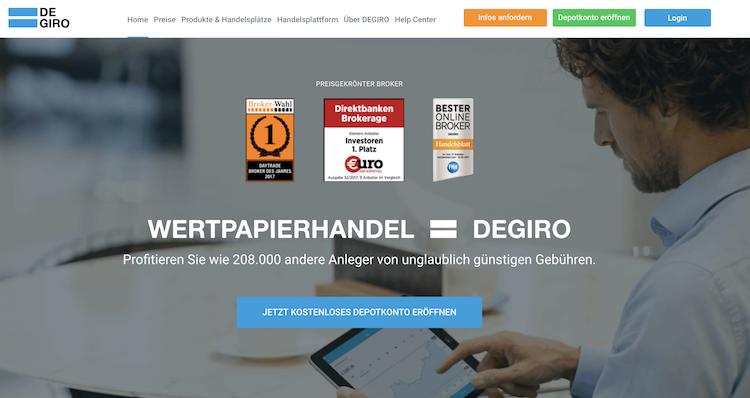 DEGIRO Webseite
