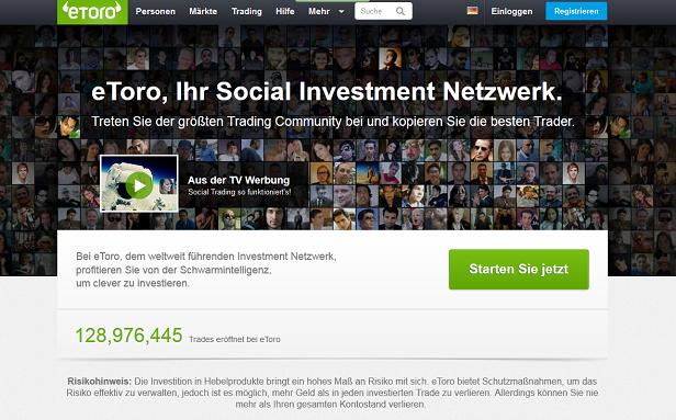 eToro Spread Betting Social Investment Netzwerk