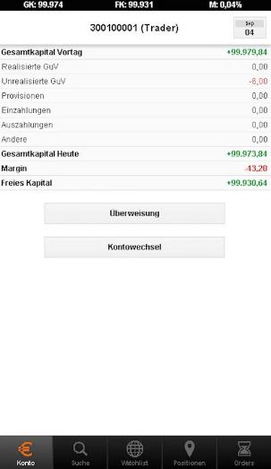 flatex-CFD-App-Kontoübersicht