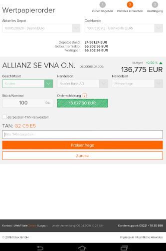 flatex-WebFiliale-order-allianz