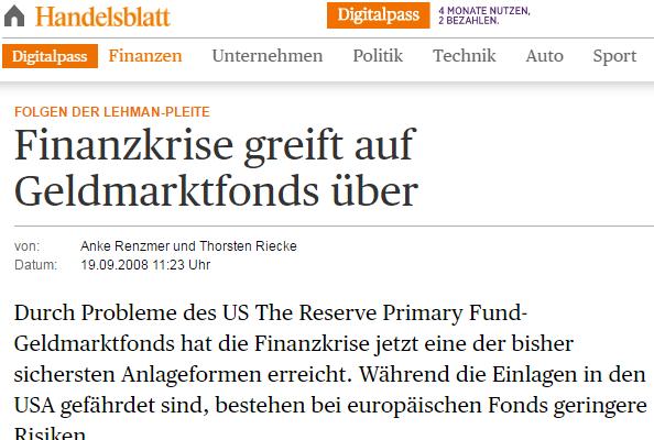 Handelsblatt-Geldmarktfonds-Headline