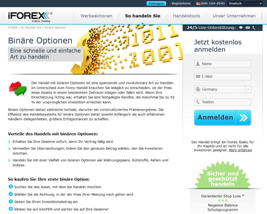 Der Binäroptionshandel bei iForex