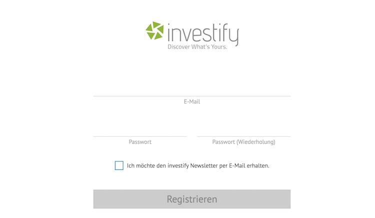 Investify Registrierung