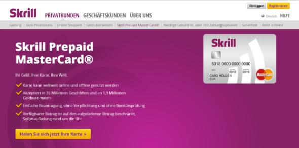 Das Kreditkartenangebot von Skrill