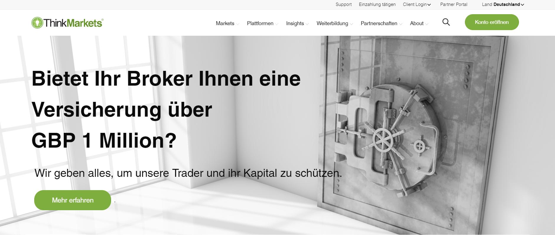 ThinkMarkets Webseite