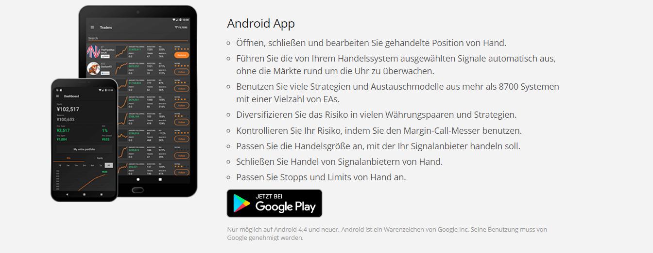 Die Android-App bei Zulutrade